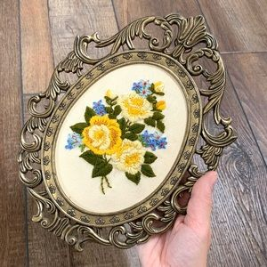 Vintage Hand Embroidered Floral Wall Art